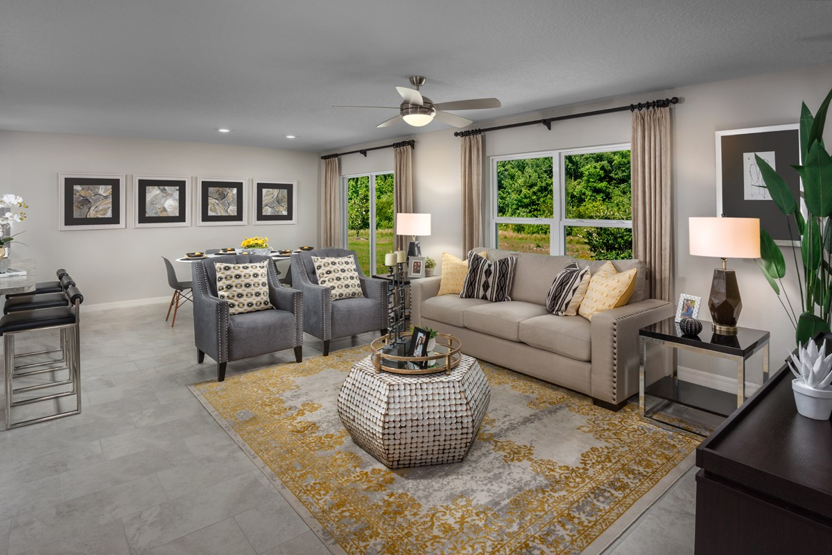 New Homes in Winter Haven, FL - Lake Lucerne 1707 Great Room as modeled at Gramercy Farms