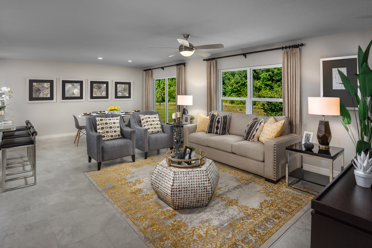 New Homes In Winter Haven, FL   Lake Lucerne 1707 Great Room As Modeled At