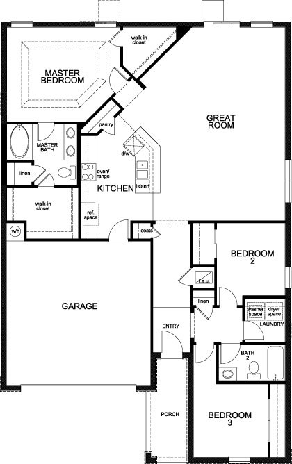 New Homes in Apopka, FL - Plan 1723 - Modeled, First Floor