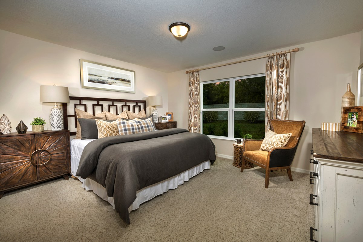 New Homes in Kissimmee, FL - Casa Bella Plan 1541 Master Bedroom as modeled at Cayden Reserve
