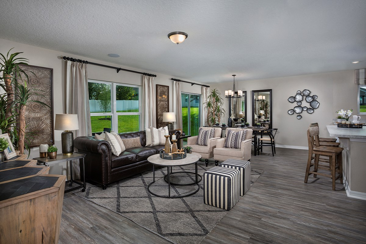 New Homes in Kissimmee, FL - Casa Bella Plan 1707 Great Room as modeled at The Gardens at Lake Jackson Ridge