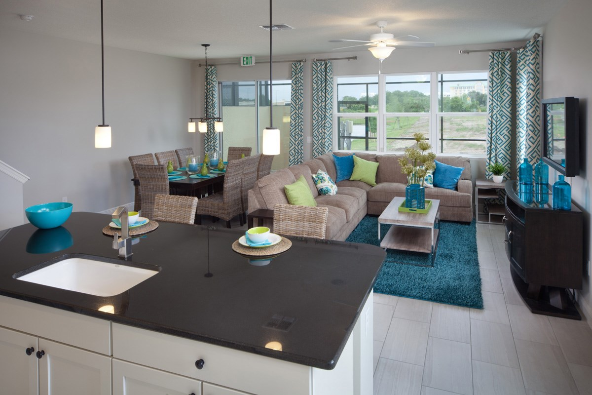 New Homes in Kissimmee, FL - Compass Bay Townhomes 1700 Great Room