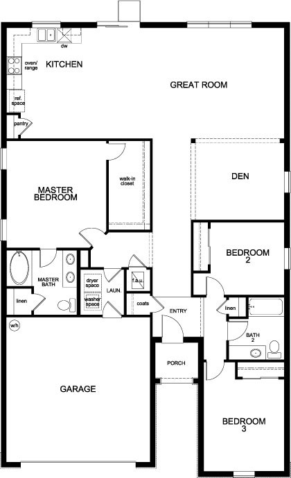 New Homes in Orlando, FL - Plan 1933, First Floor