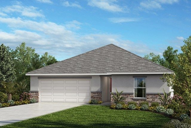 New Homes in Mascotte, FL - Elevation A with optional stone