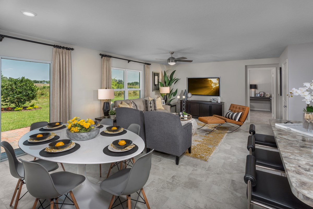 New Homes in St. Cloud, FL - Gramercy Farms 1707 Great Room & Dining Nook