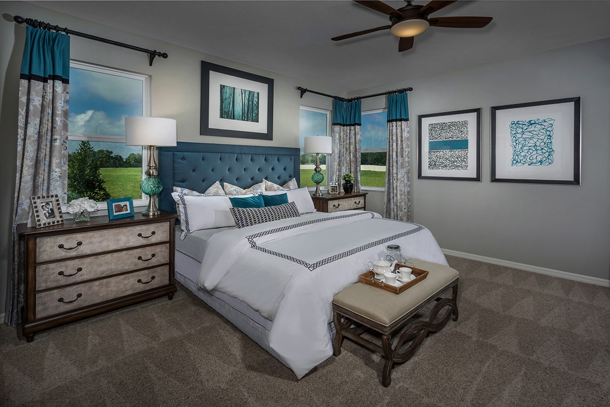 New Homes in St. Cloud, FL - Hanover Square Plan 2333 Master Bedroom as modeled at Creekstone