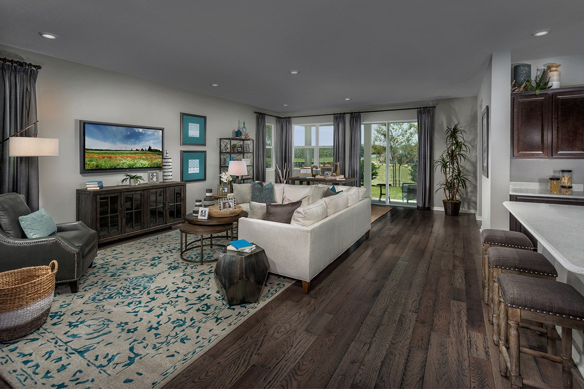 New Homes in St. Cloud, FL - Hanover Square Plan 2333 Great Room as modeled at Creekstone