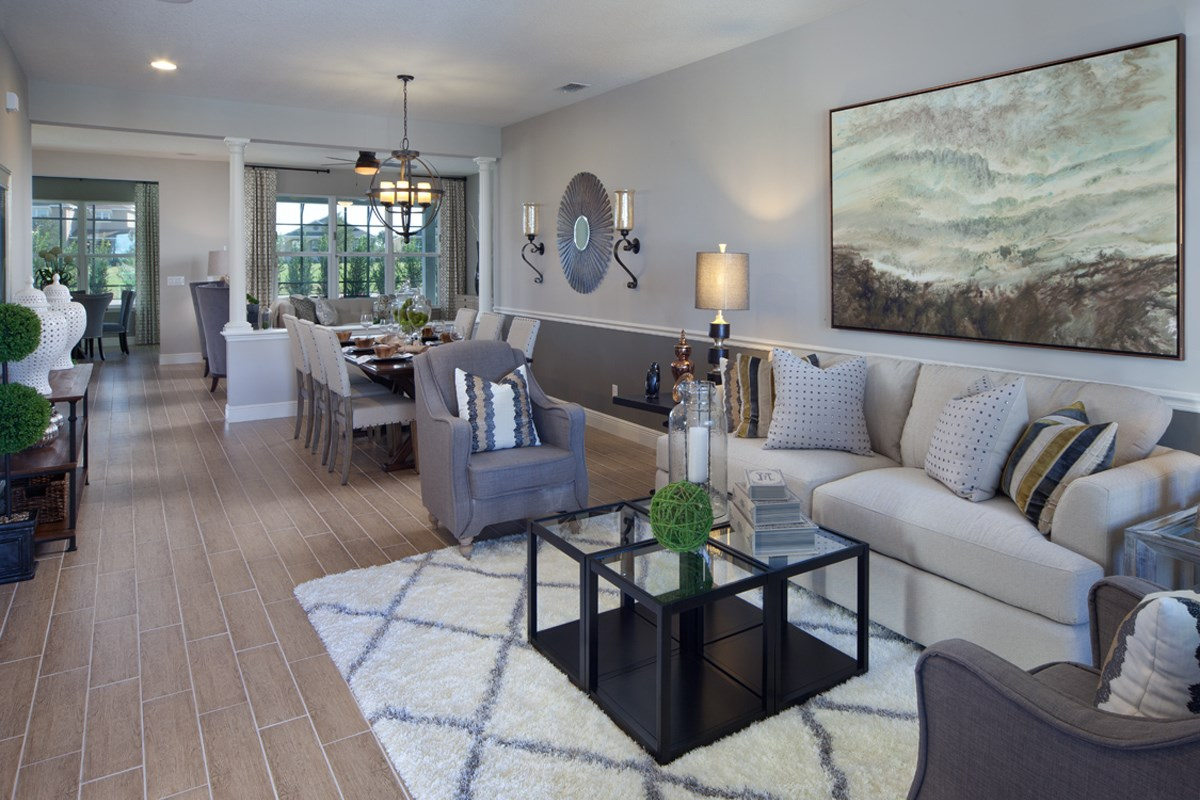 New Homes in Winter Garden, FL - Orchard Park 2517 Living/Dining as Modeled at Summerlake