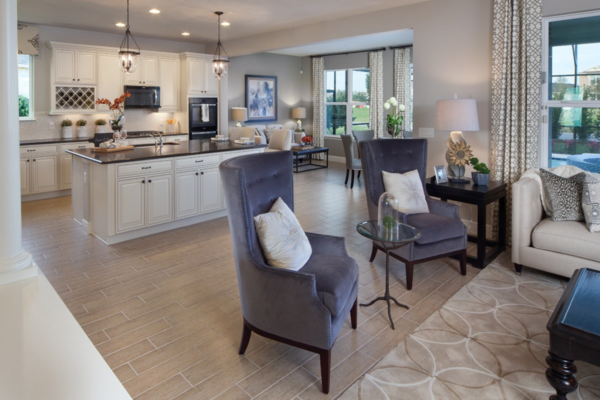 New Homes in Winter Garden, FL - Orchard Park 2517 Family Room as Modeled at Summerlake