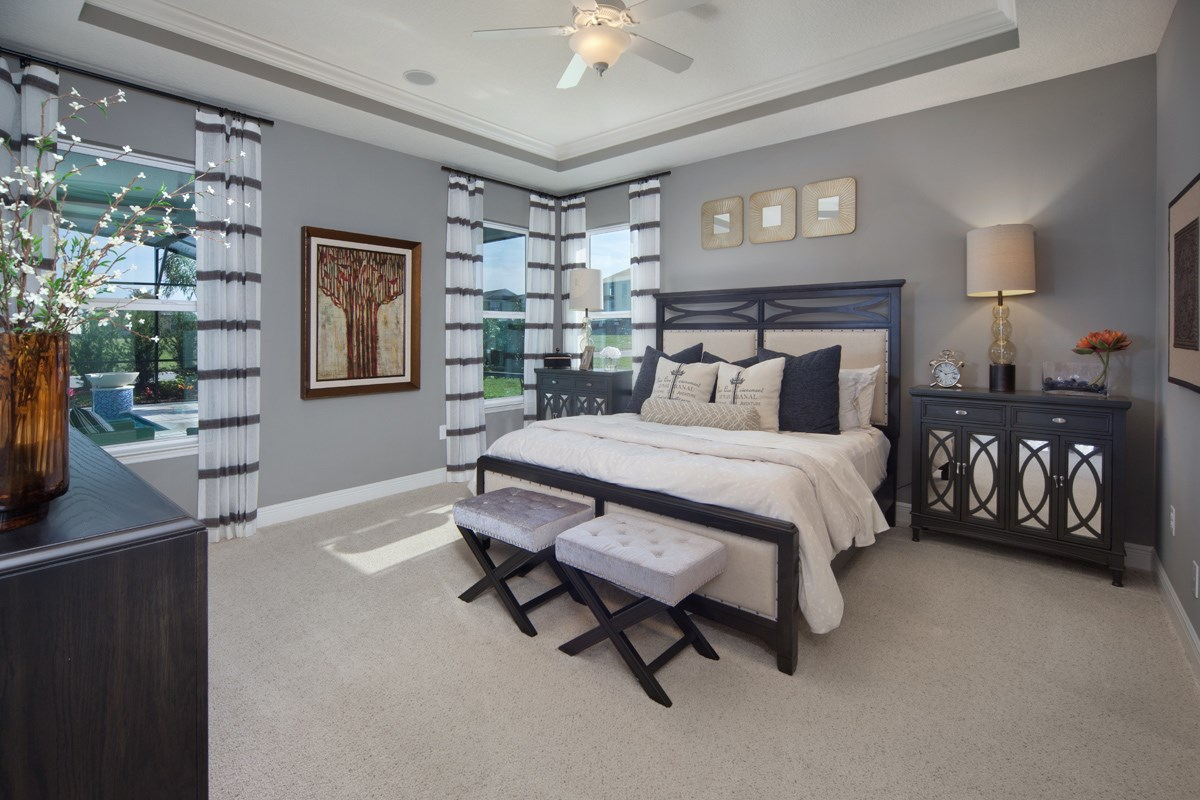 New Homes in Winter Garden, FL - Orchard Park 2517 Master Bedroom as Modeled at Summerlake