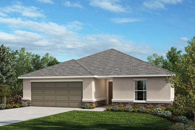 New Homes in St. Cloud , FL - Elevation A with optional stone
