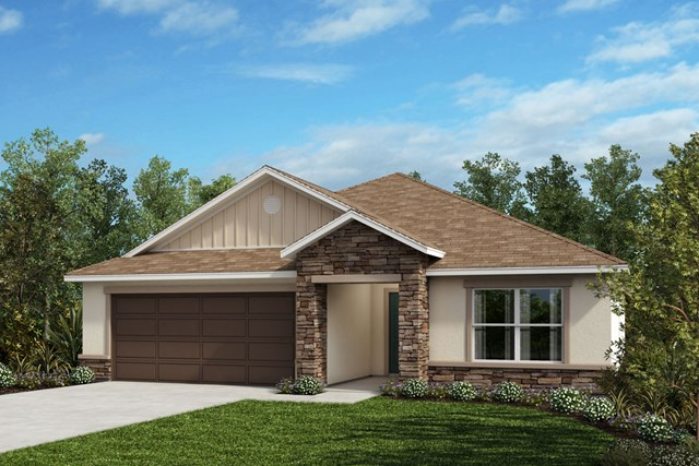 New Homes in St. Cloud , FL - Elevation H with optional stone