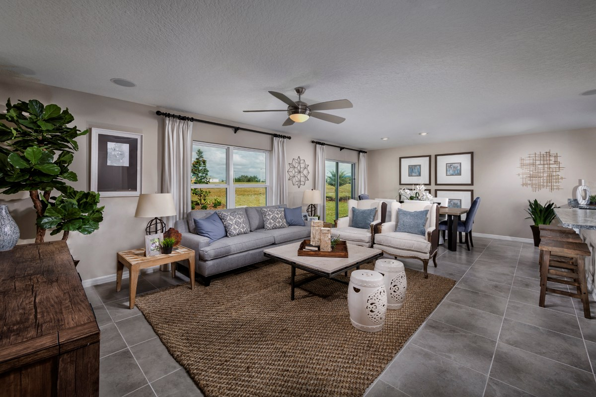 New Homes in Davenport, FL - Tivoli Reserve 1707 Great Room as modeled at Stewart Lake Preserve