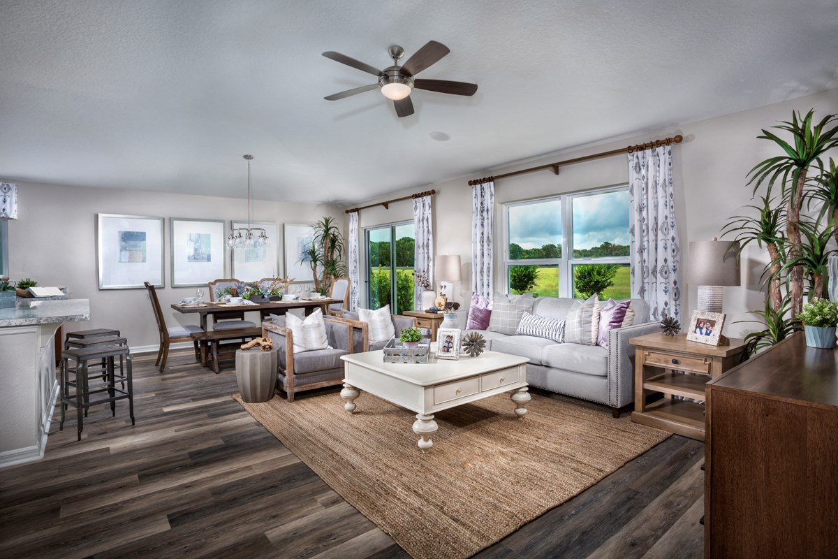 New Homes in Titusville, FL - Verona 1707 great room as modeled at Cayden Reserve