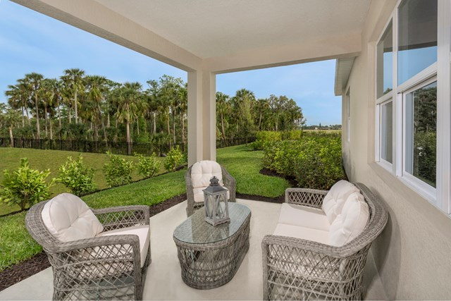 KB model home covered patio in Fort Myers, FL