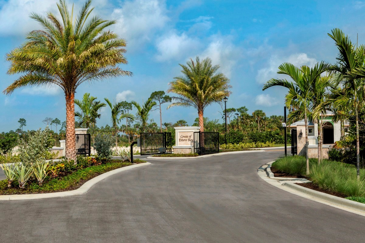 New Homes in Fort Myers, FL - Coves of Estero Bay Entry Monument and Gated Entrance