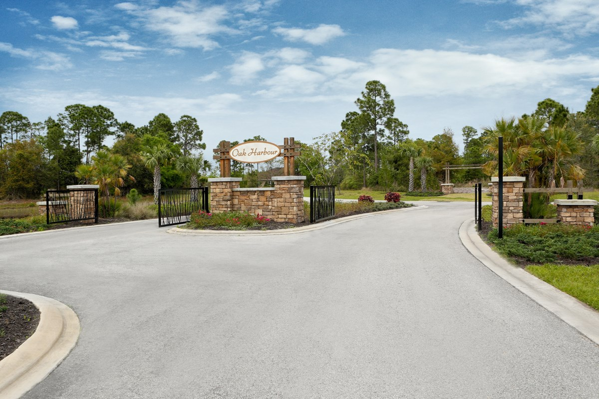 New Homes in Punta Gorda, FL - Oak Harbour Entry Monument and Gated Entrance