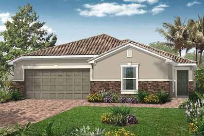 New Homes in Venice, FL - Elevation A with Stone