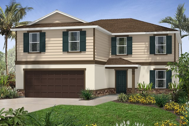 New Homes in Seffner, FL - Plan 2550 Elevation F with Stone