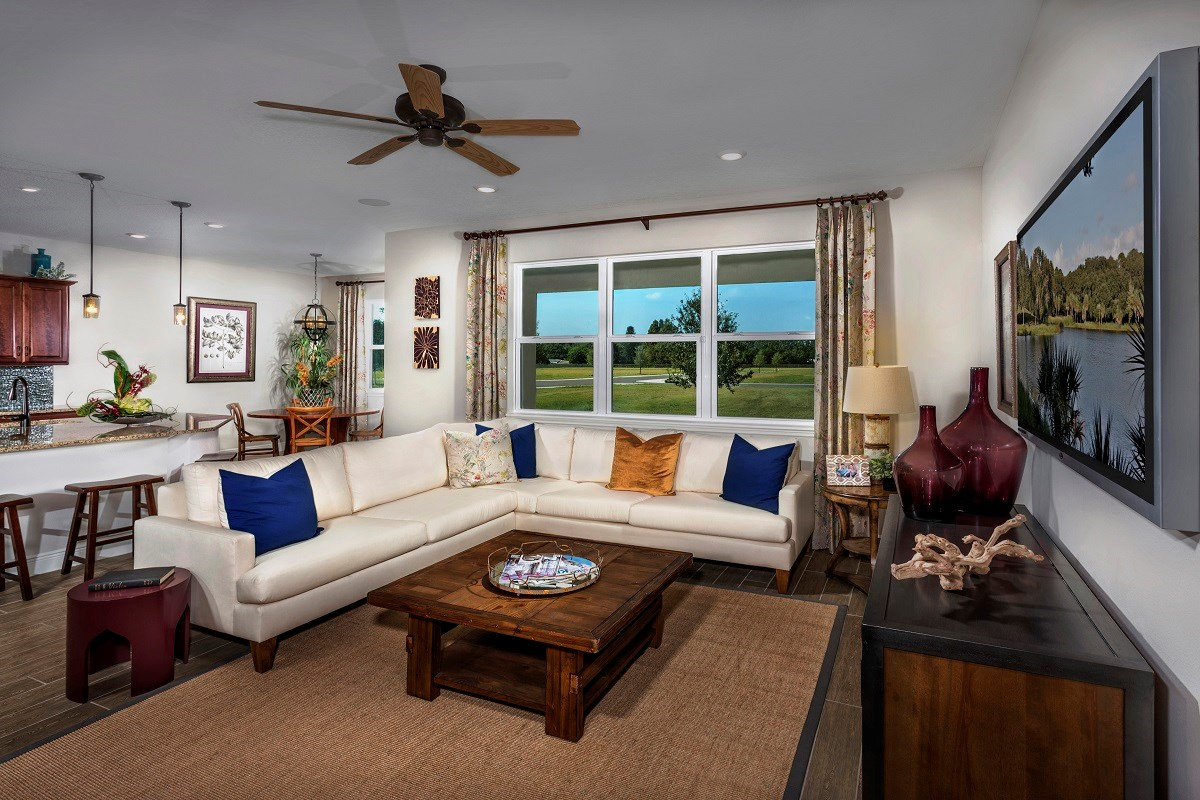 New Homes in Seminole, FL - Artisan Preserve Plan 2851 Living and Dining Room as modeled at Seminole Groves