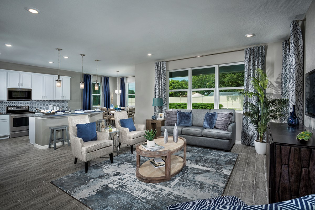 New Homes in Seminole, FL - Artisan Estates Plan 2851 Great Room, Kitchen, Nook & Covered Patio