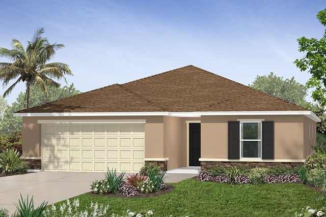 New Homes in Seffner, FL - Plan 2003 Elevation A w/ Stone