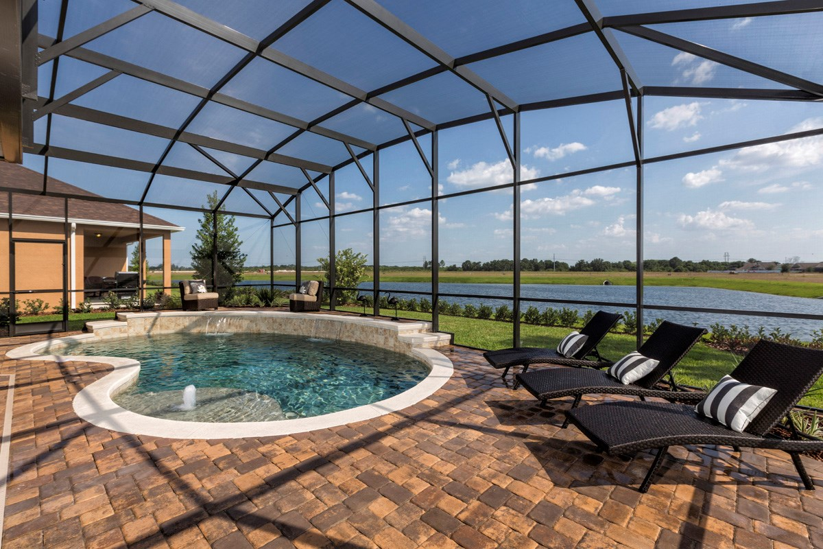 New Homes in Riverview, FL - Ibis Cove II at South Fork 3411 with Optional Covered Patio, Pool, & Screened Enclosure