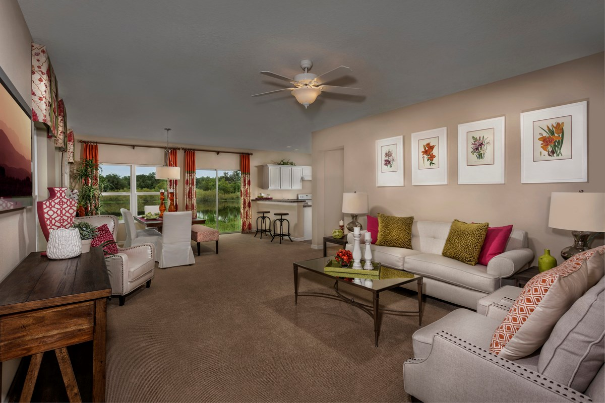 New Homes in Fort Myers, FL - Coves of Estero Bay Plan 1585 Great Room as modeled at Medford Lakes
