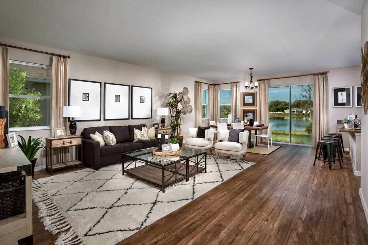 New Homes in Seminole, FL - Artisan Estates Plan 2294 Great Room as modeled at Medford Lakes I