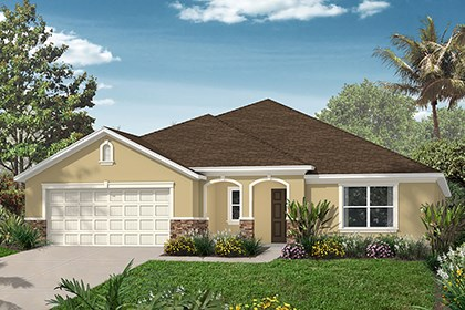 New Homes in Punta Gorda, FL - Elevation D with Stone