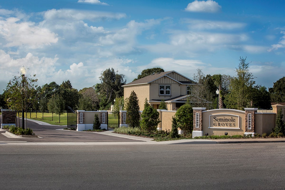 New Homes in Seminole, FL - Seminole Groves Community Entrance and Monument