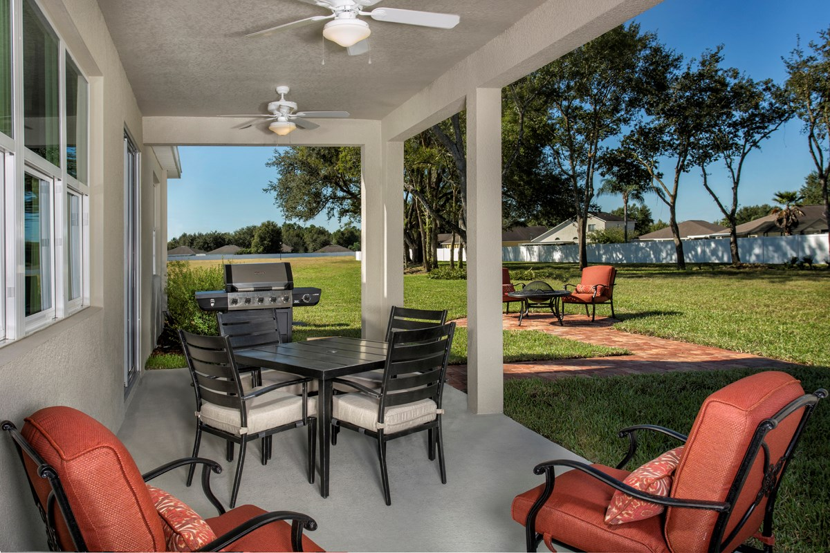 New Homes in Land O' Lakes, FL - The Woodlands Plan 2293 Covered Patio