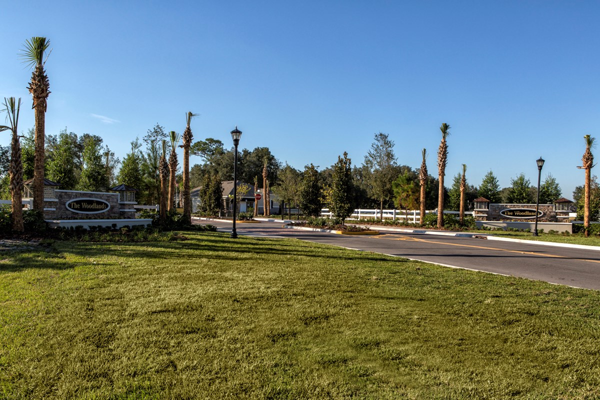 New Homes in Land O' Lakes, FL - The Woodlands Entry Monument and Gated Entrance