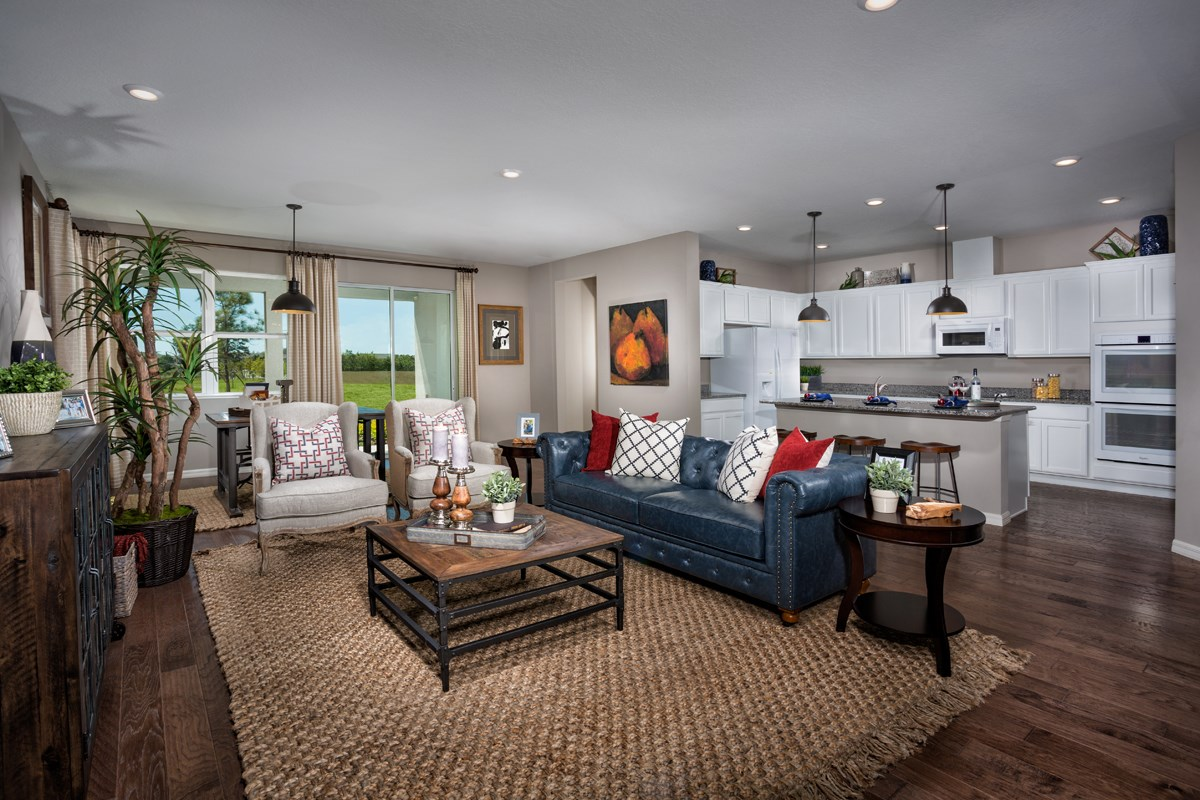 New Homes in Bradenton, FL - Lakewood Estates 2333 Great Room as modeled at West Lake Reserve
