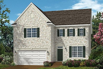 New Homes in Ellicott City, MD - The Amora - Elevation A with optional stone