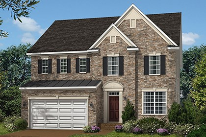 New Homes in Ellicott City, MD - The Marbella - Elevation A with optional stone