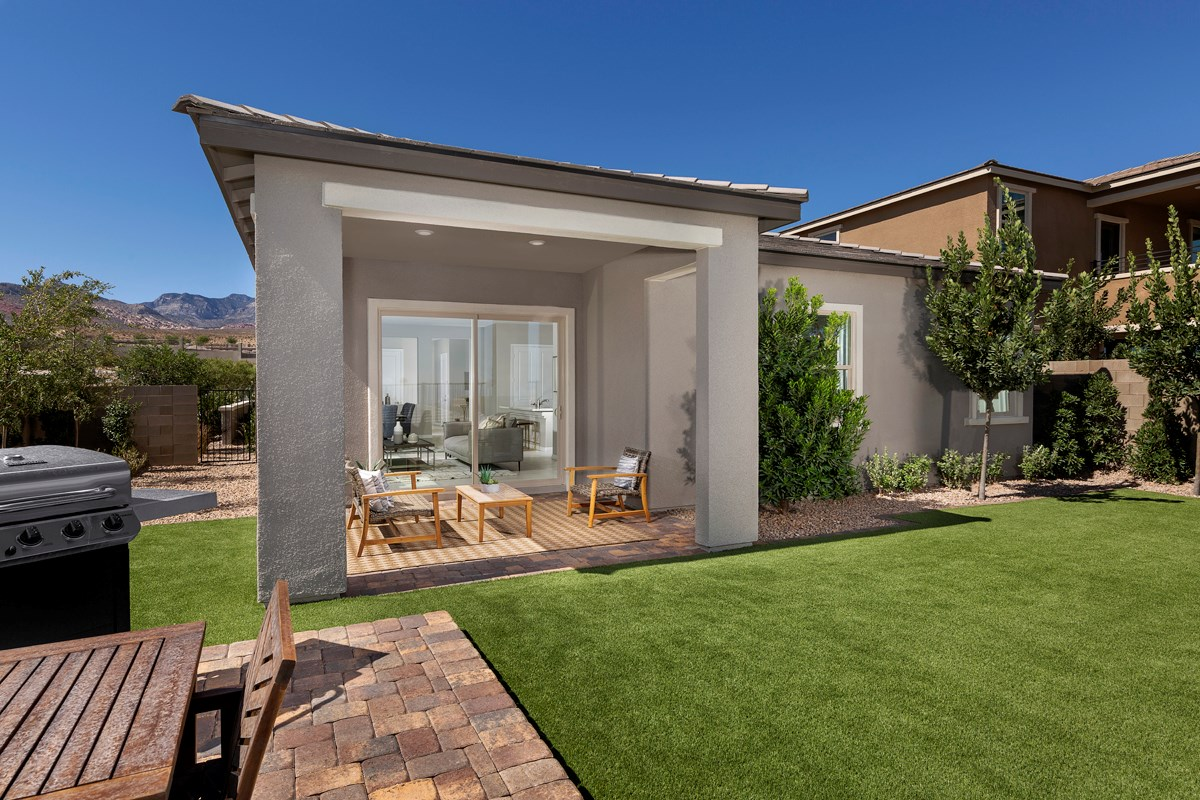 New Homes in Las Vegas, NV - Bristle Vale at Summerlin - Collection II Plan 1858 Backyard