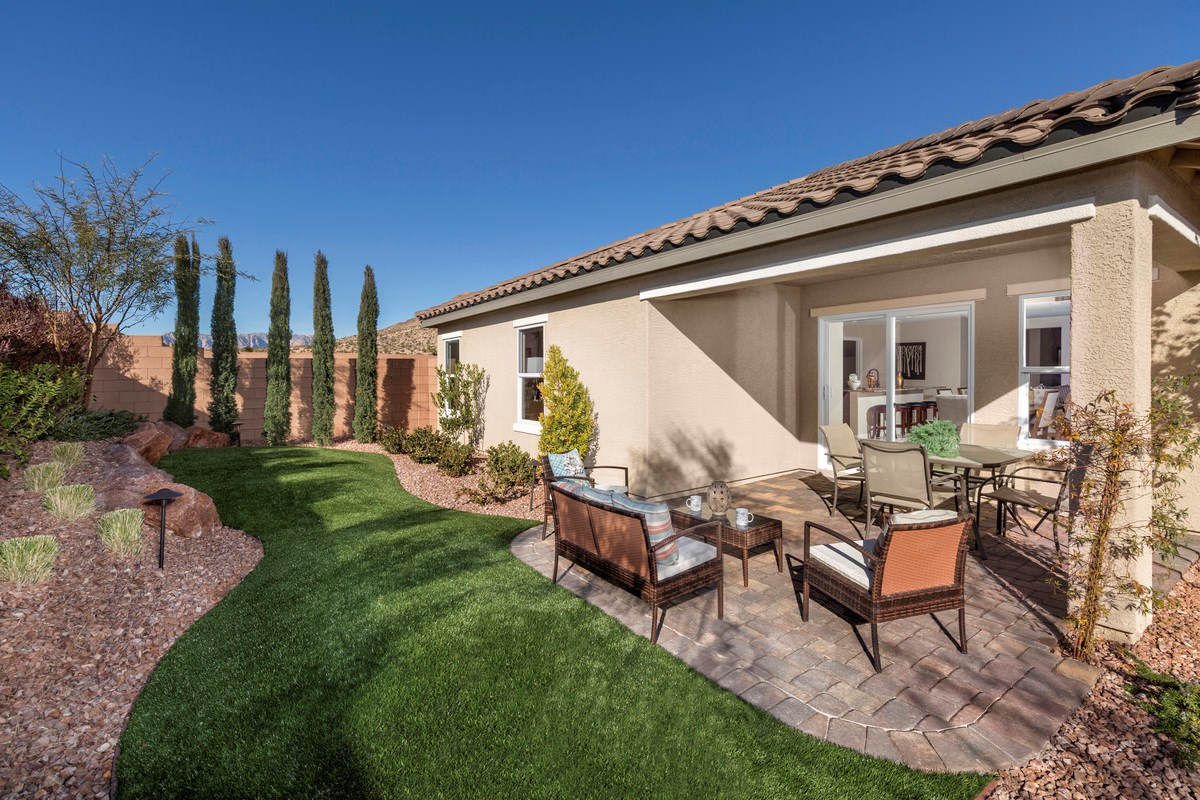 New Homes in Las Vegas, NV - Chandler Park Plan 1849 Backyard as modeled at Laurel Hills
