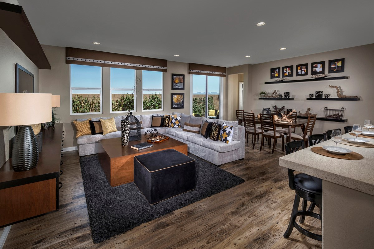 New Homes in Henderson, NV - Enclaves at Inspirada Plan 2401 Great Room as modeled at San Severo Plan 2370