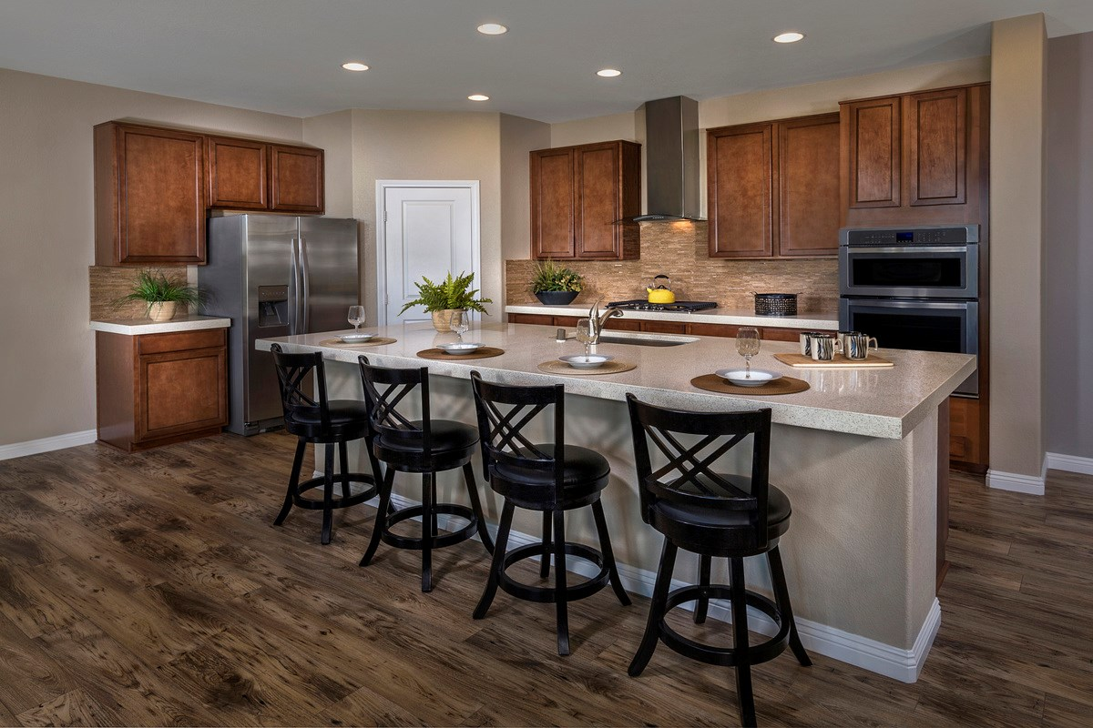 New Homes in Henderson, NV - Enclaves at Inspirada Plan 2401 Kitchen as modeled at San Severo Plan 2370