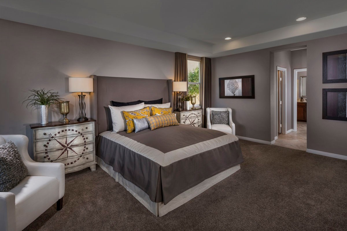 New Homes in Henderson, NV - Enclaves at Inspirada Plan 2401 Master Bedroom as modeled at San Severo Plan 2370