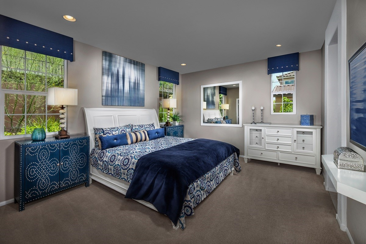 New Homes in Las Vegas, NV - Jade Meadows Plan 1849 Master Bedoom as modeled at Reserves at Inspirada
