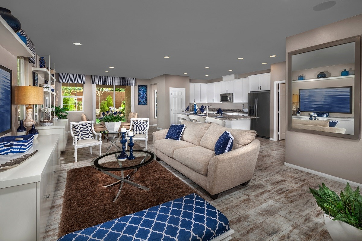 New Homes in Las Vegas, NV - Jade Meadows Plan 1849 Great Room as modeled at Reserves at Inspirada