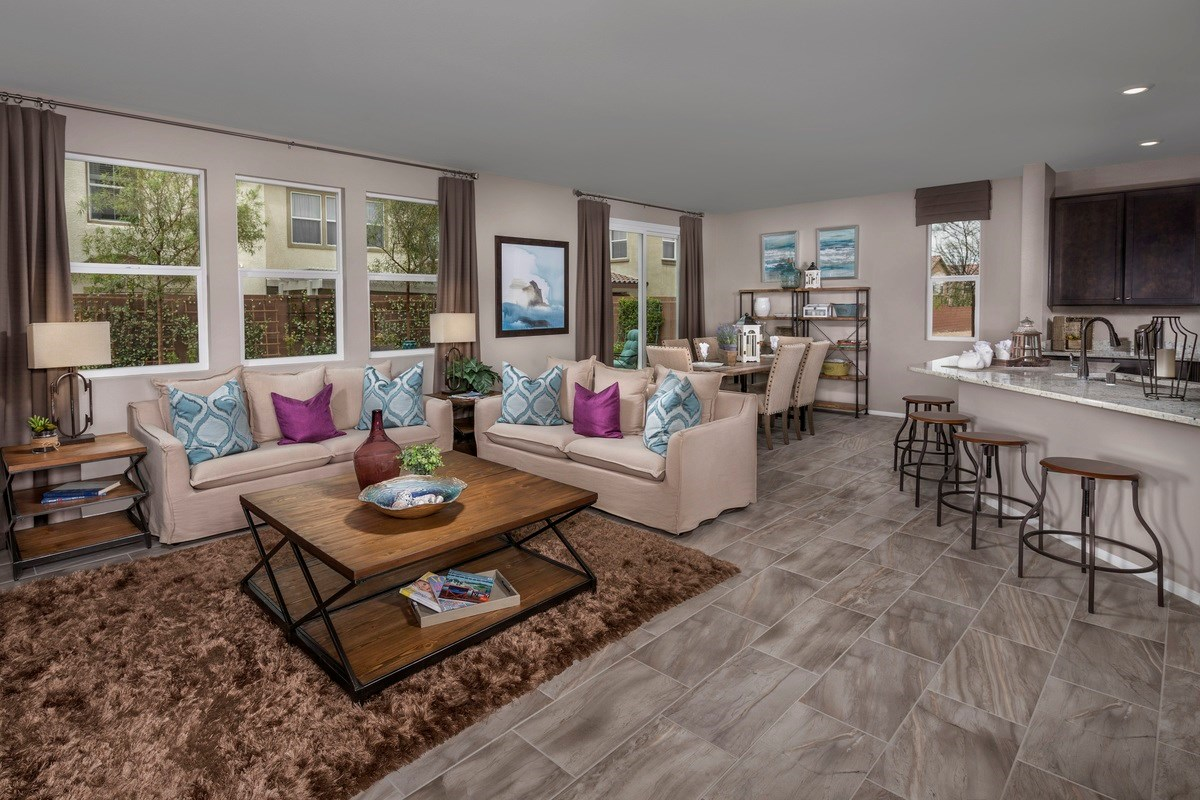 New Homes in Las Vegas, NV - Jade Meadows Plan 2335 Great Room as modeled at Denali
