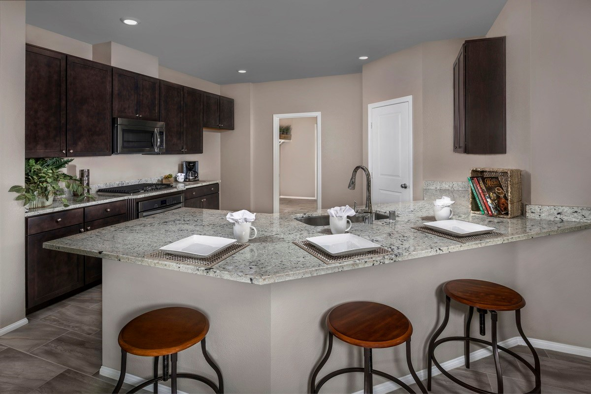New Homes in Las Vegas, NV - Jade Meadows Plan 2335 Kitchen as modeled at Denali