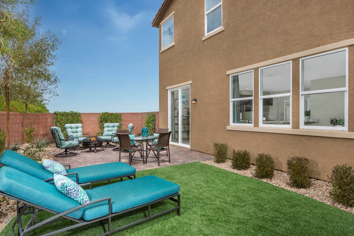 New Homes in Las Vegas, NV - Jade Meadows Plan 2335 Backyard as modeled at Denali