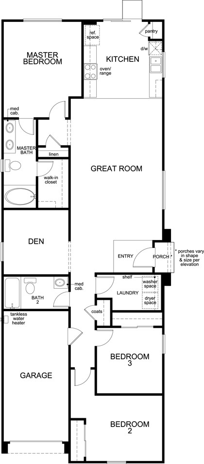 New Homes in Henderson, NV - Plan 1453, First Floor
