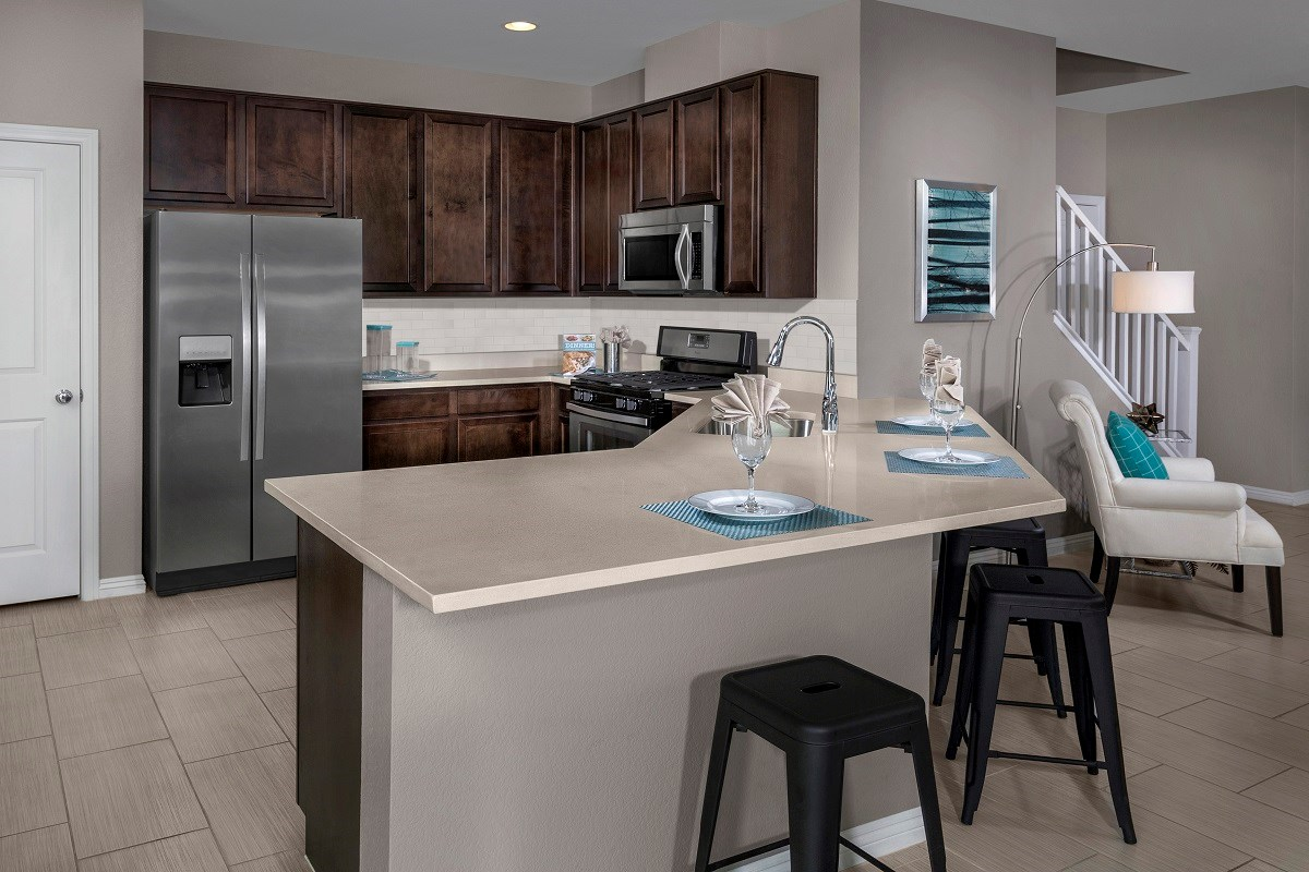 New Homes in Las Vegas, NV - Oxford Commons Plan 2115 Kitchen as modeled at Pearl Creek