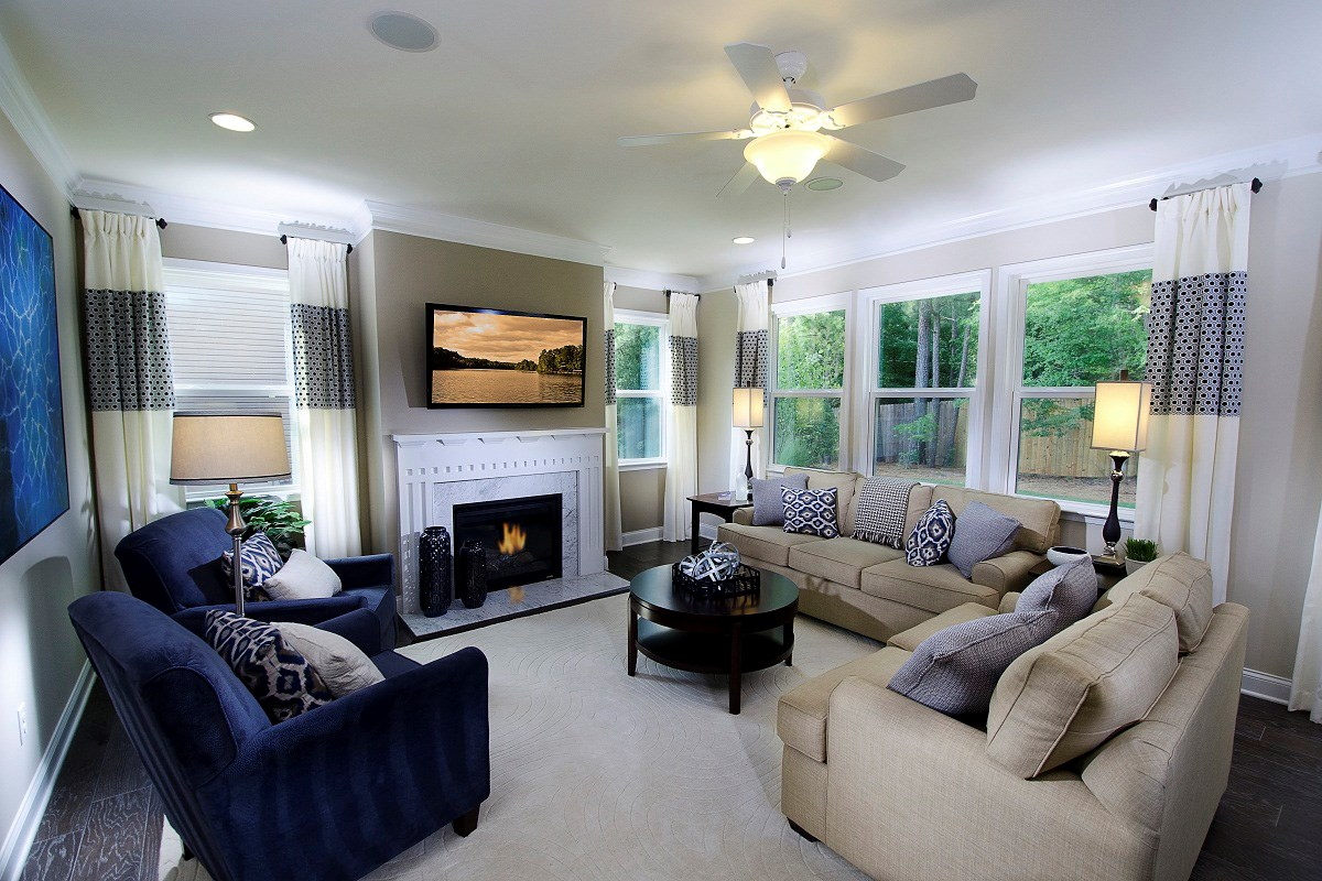 New Homes in Wake Forest, NC - The Meadows - Basement Homes The Murrow Living Room