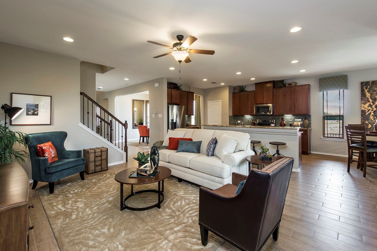 New Homes in Georgetown, TX - Berry Creek The A-3023 Living Area and Kitchen